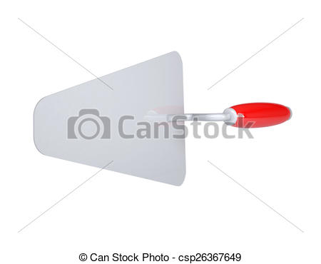 Drawing of Construction trowel with red handle. Top view. Isolated.