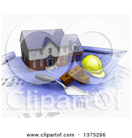 Clipart of a 3d Plasterer or Mason Trowel Tool on White 3.