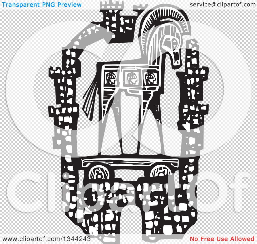 Clipart of a Black and White Woodcut Greek Trojan Horse Within the.