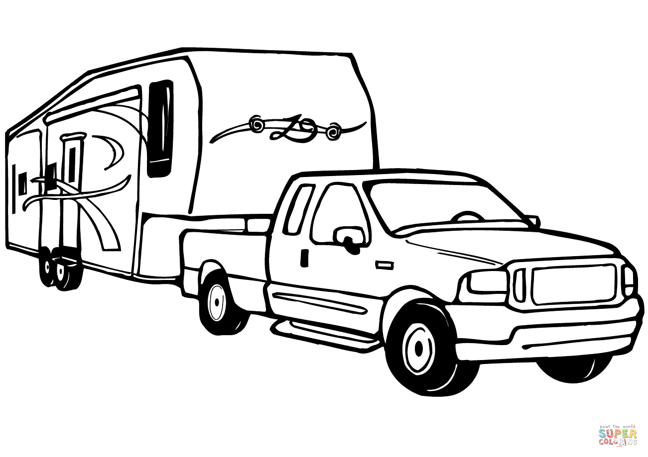 Truck And Camper Coloring Pages.