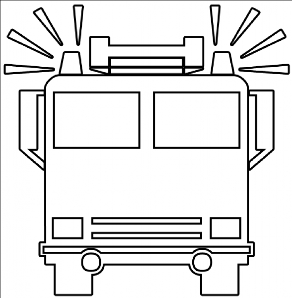 Fire truck clipart black and white free 4.