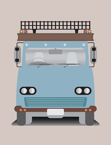 Front view of old truck Clipart Image.