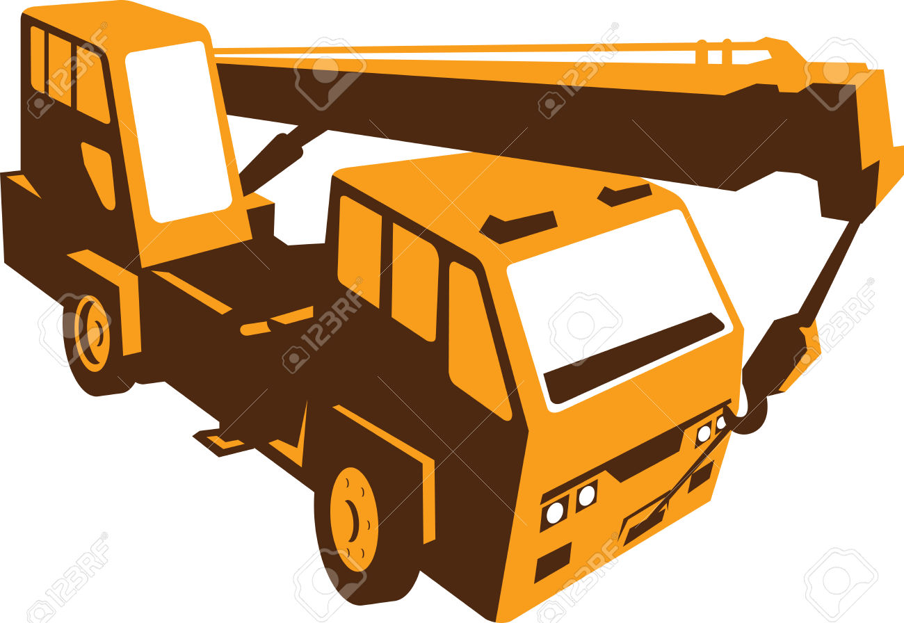 Illustration Of A Truck Mounted Hydraulic Crane Cartage With.