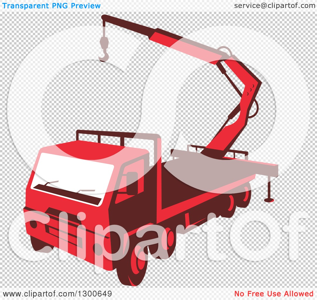 Clipart of a Retro Red Truck Mounted Hydraulic Crane Cartage with.