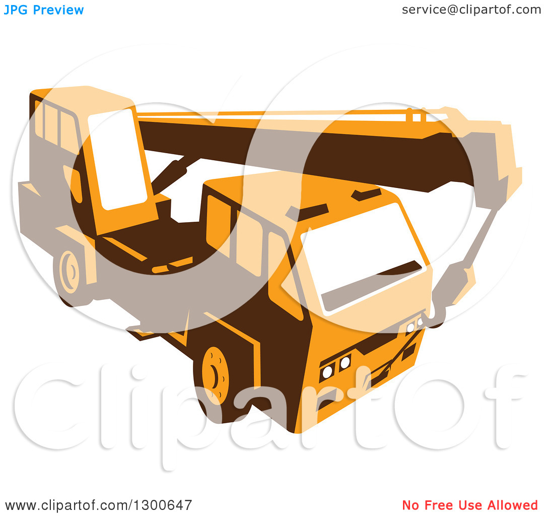 Clipart of a Retro Yellow Truck Mounted Hydraulic Crane Cartage.