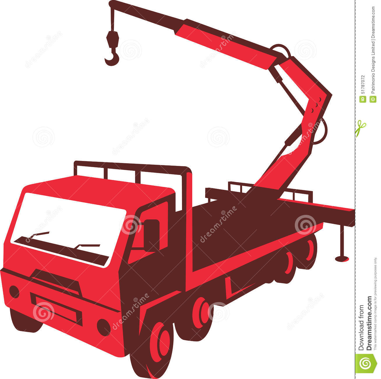 Truck Mounted Crane Cartage Hoist Retro Stock Vector.