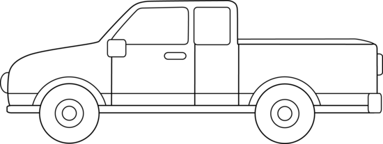 Pickup Truck Outline Clipart.