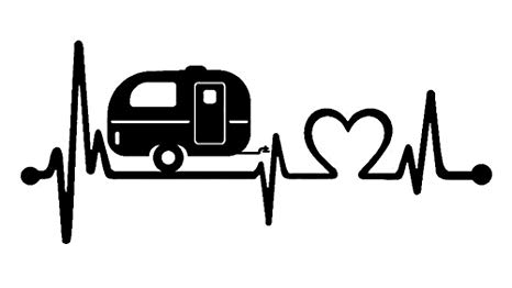 Bluegrass Decals F1026 Camper Travel Trailer Heartbeat Lifeline Decal  Sticker (Black).