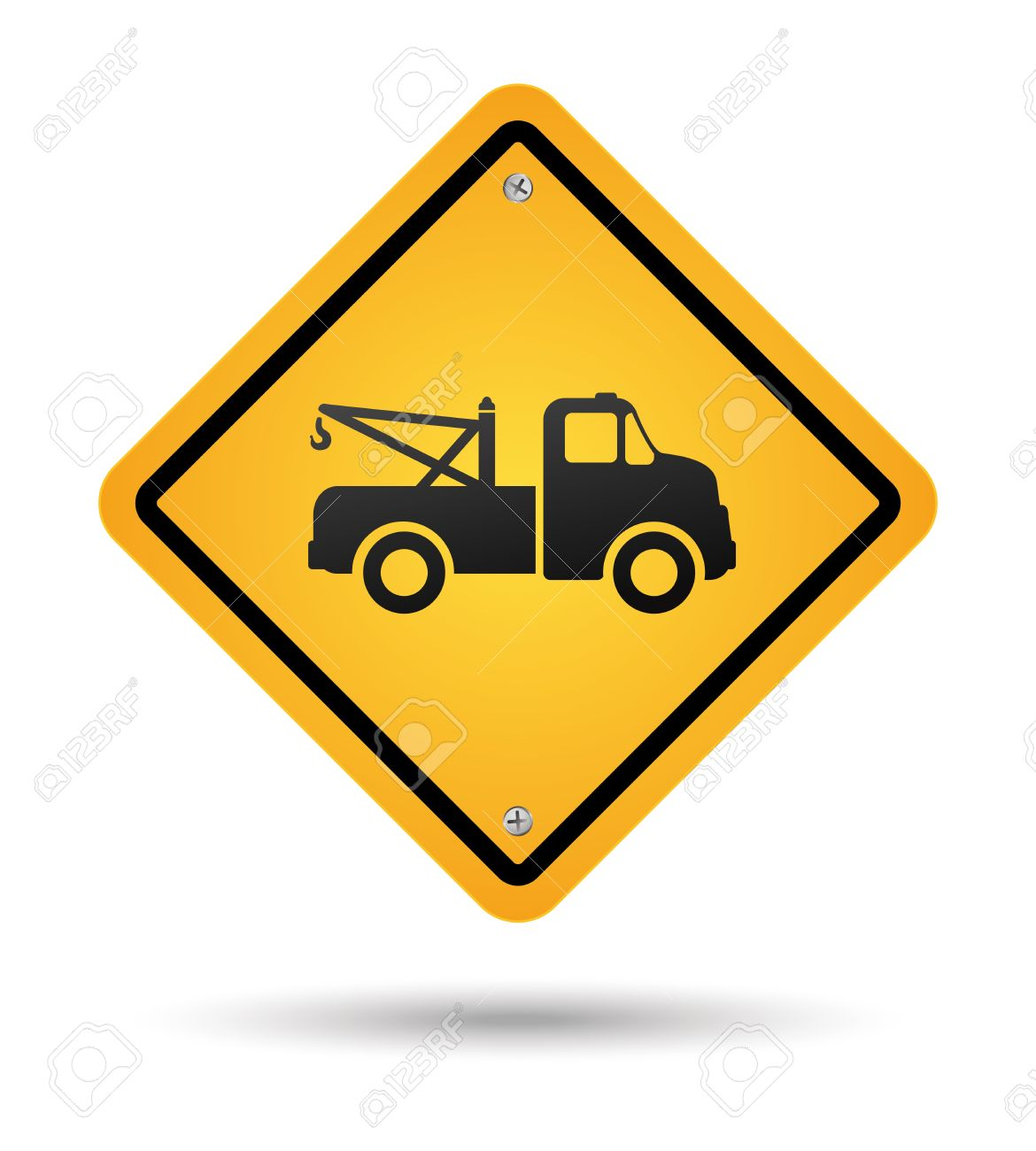 Yellow Tow Road Sign Isolated Royalty Free Cliparts, Vectors, And.