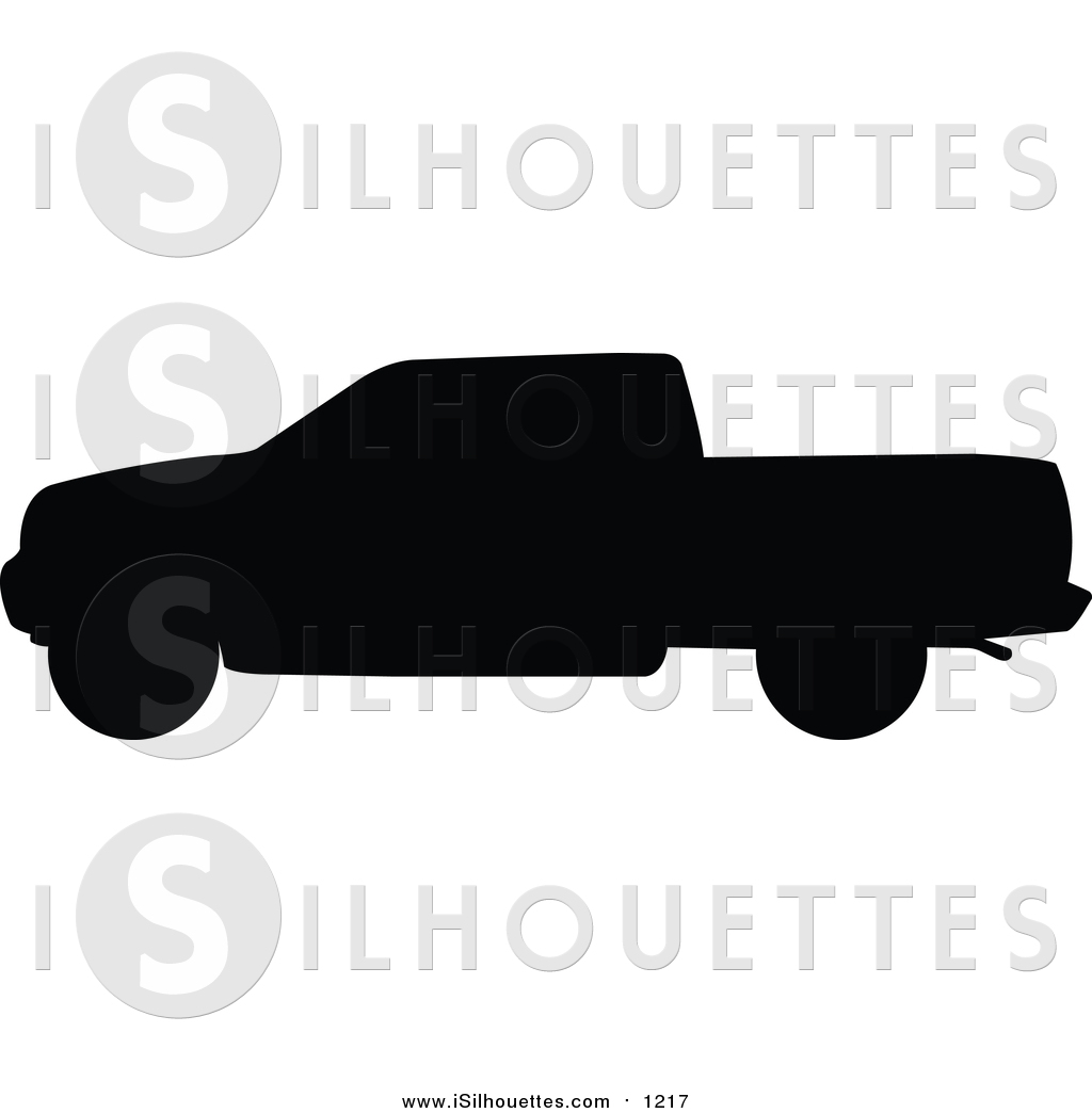 Clipart of a Black Pickup Truck Silhouette by JR.