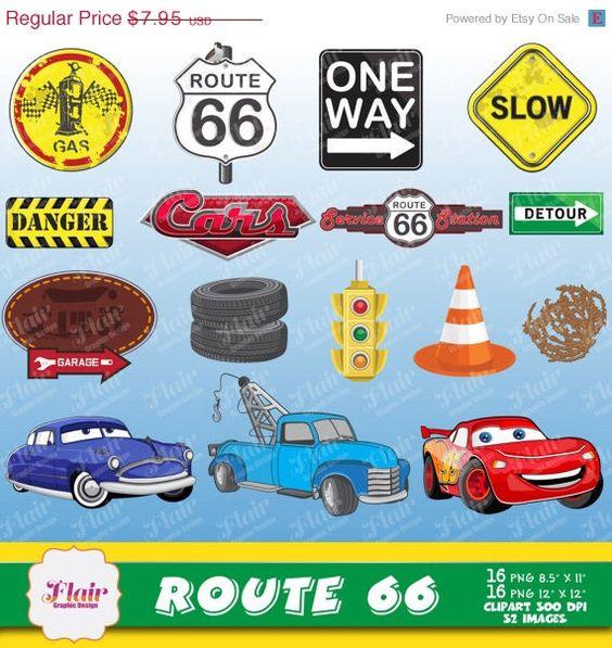 ROUTE 66 Digital Clipart, Cars Birthday, Lightning McQueen, Hudson.