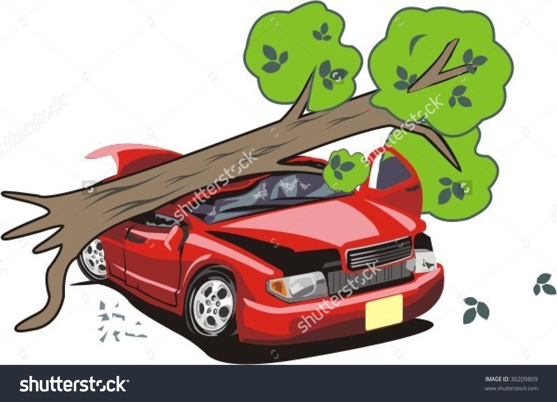 Tree Tumbled On Car Stock Vector Illustration 30209809 : Shutterstock.