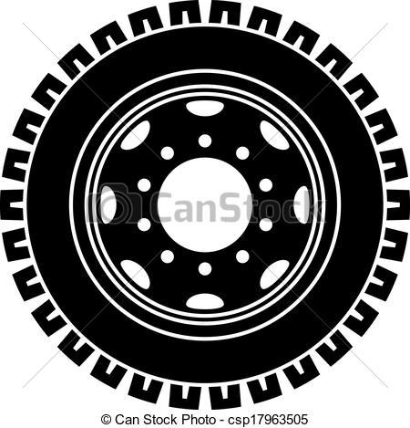 Vector Clipart of vector truck wheel black white symbol.