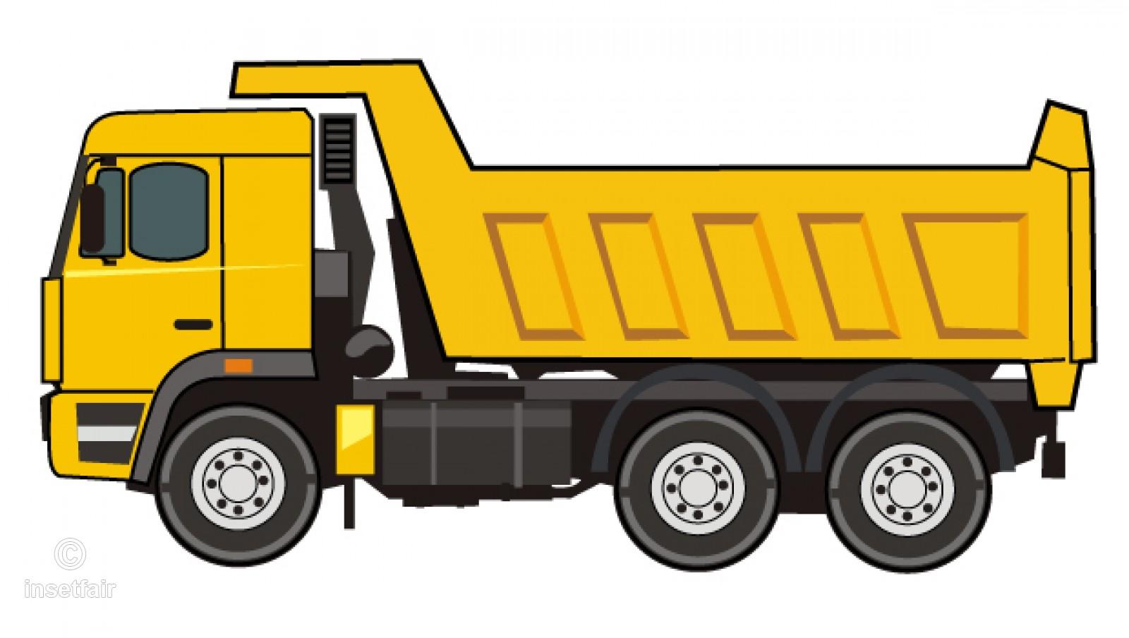 Dump truck flat vector clipart illustration PNG file.