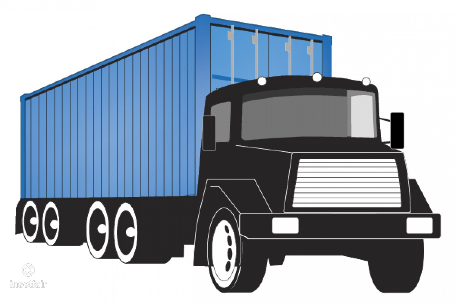Large container truck vector illustration PNG file.