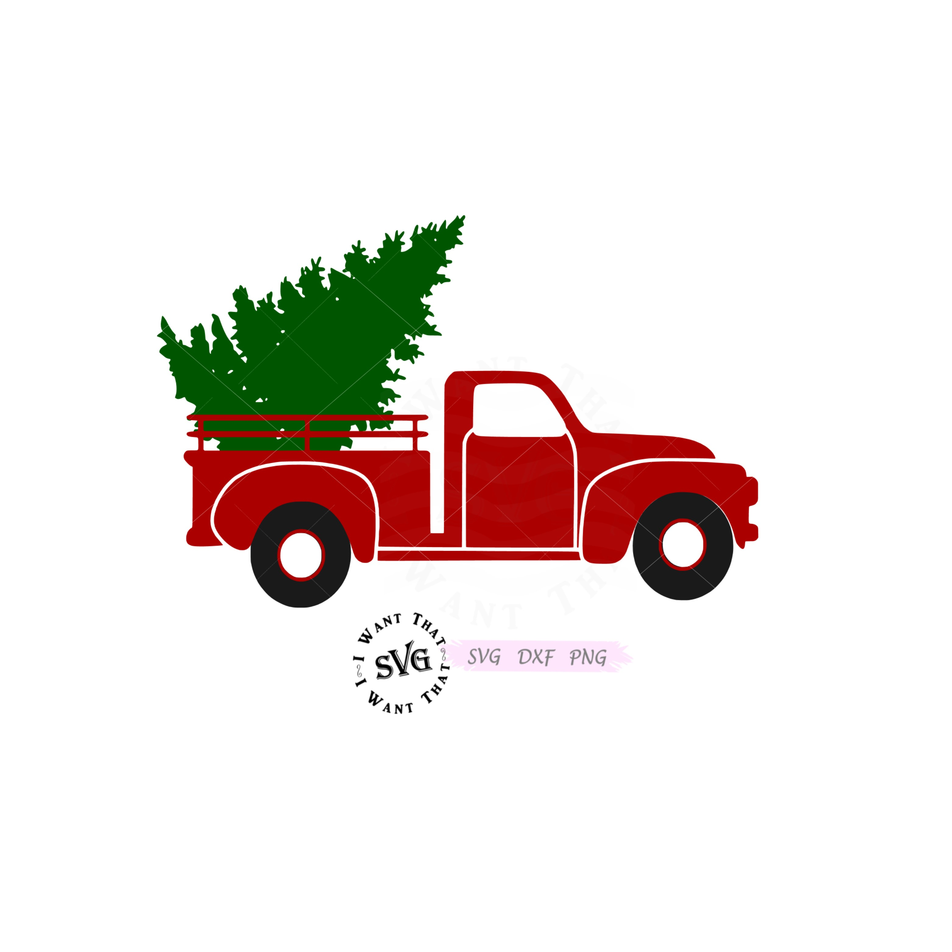 Vintage Red Truck with Christmas Tree.