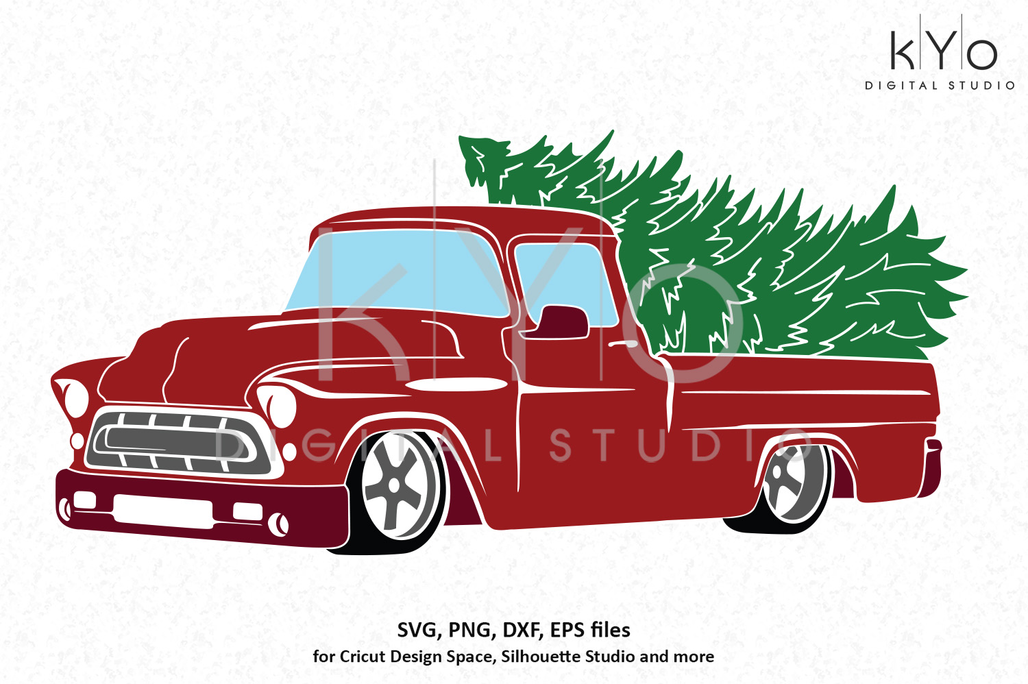 Chevy Christmas truck SVG PNG DXF EPS files.