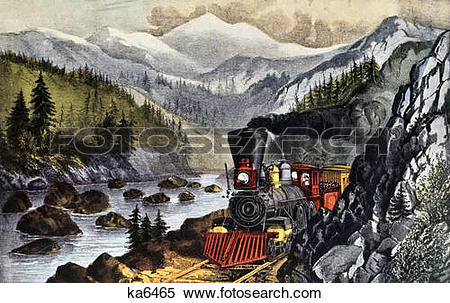 Stock Image of 1800s the route to california truckee river sierra.