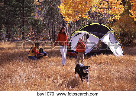 Stock Photography of A family camping during the fall near Truckee.