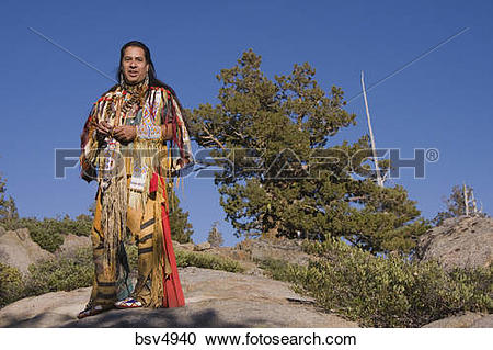 Stock Photography of A Lakota Native American Indian warrior in.