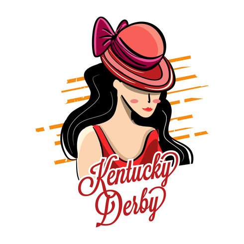 Kentucky Derby Hat with Beautiful Girl Illustration.