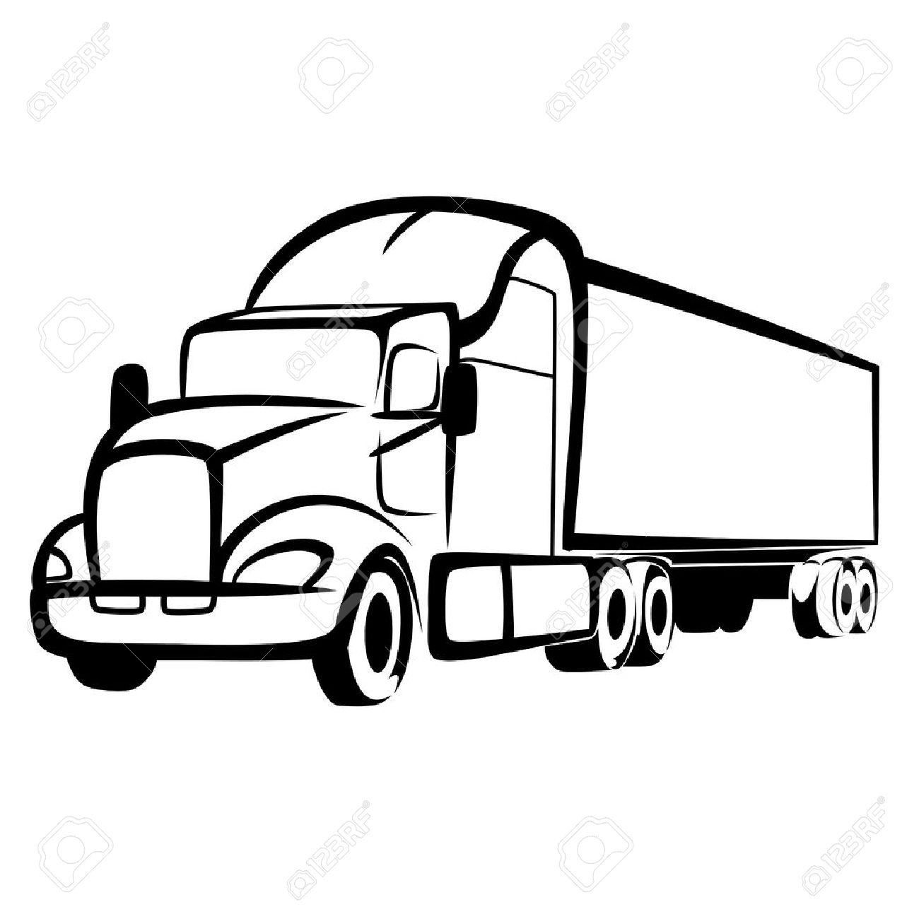 Semi Truck Clipart Black And White.