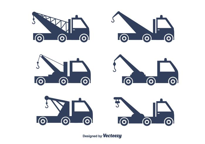 Towing Truck Vector Set.