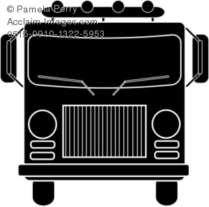 Clip Art Illustration of a Fire Truck Silhouette.