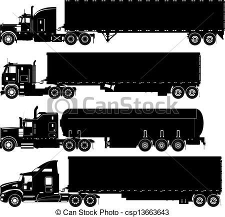 EPS Vector of Vector Trucks Silhouettes Set.
