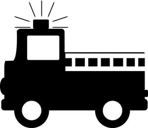 Fire Truck Clipart Image: Cartoon Fire Engine Silhouette.