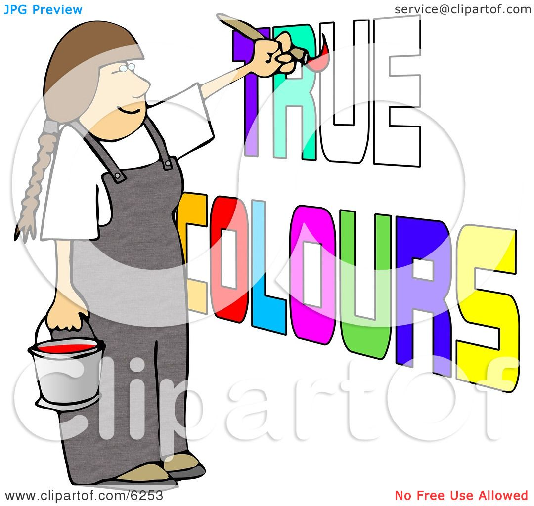 Female Painter Painting True Colours on a Wall Clipart Picture by.
