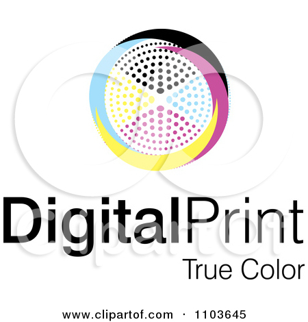 Clipart Cmyk Circle And Digital Print True Color Text On White.
