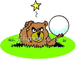 Angry Gopher Holding A Golf Ball.