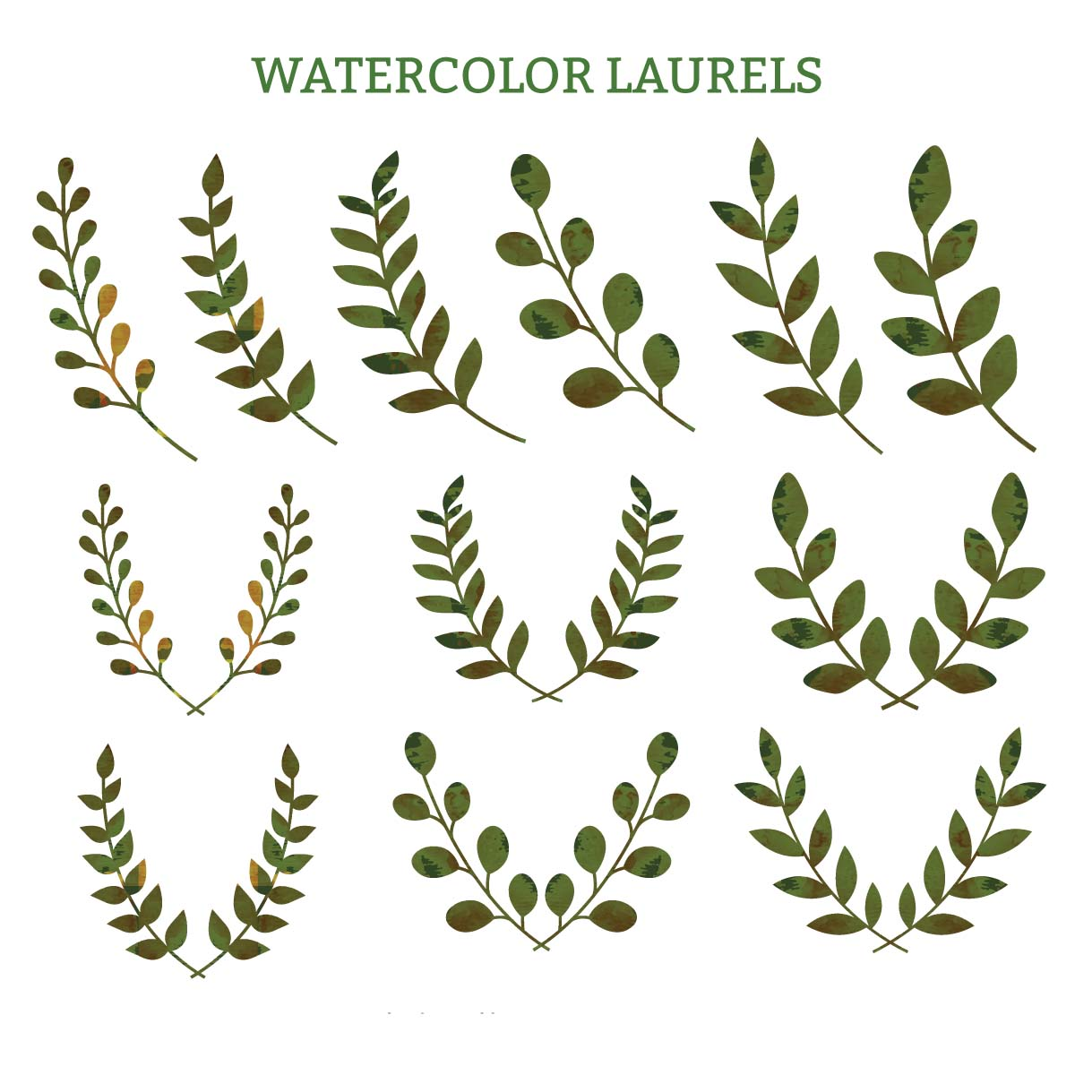Laurel wreaths watercolor clipart vector.