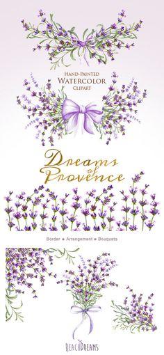 Lavender Flower Frame and Clipart.
