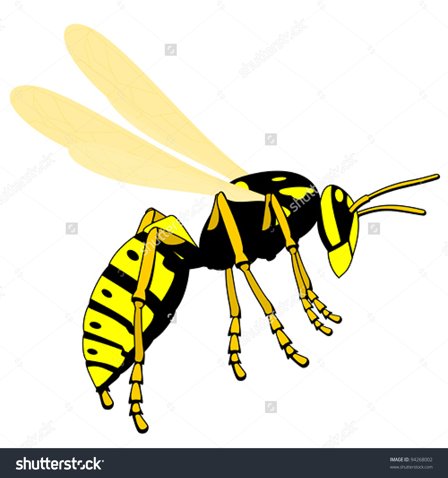 Flying Wasp Stock Vector 94268002.