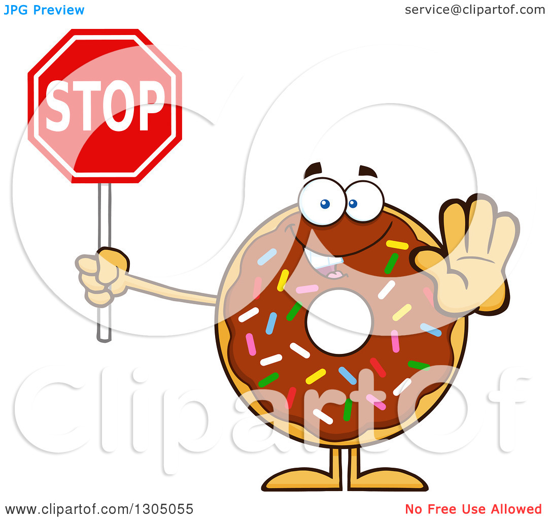 Clipart of a Cartoon Happy Round Chocolate Sprinkled Donut.