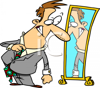 Cartoon of a Businessman Trying on a Suit.