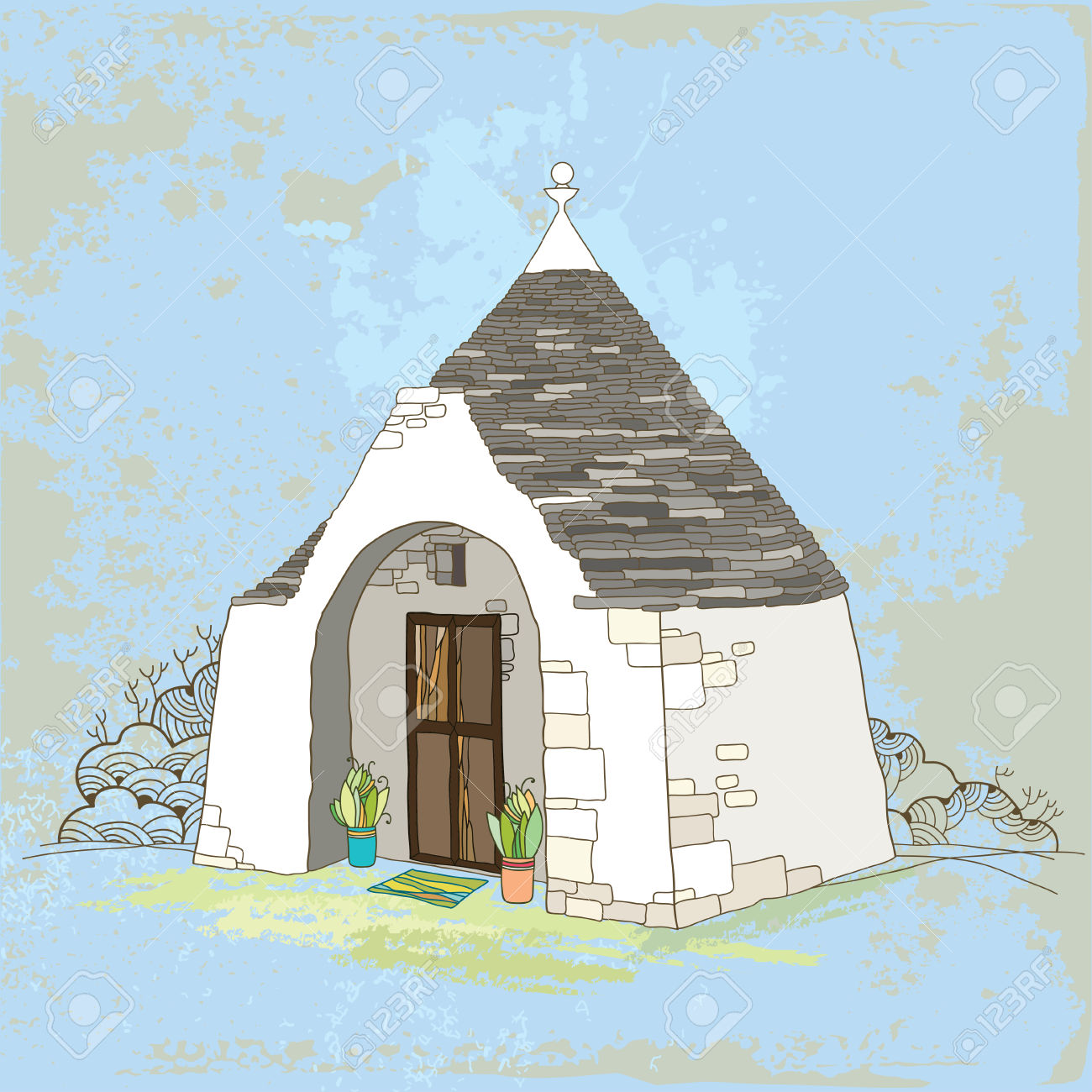 Traditional Trulli House With Conical Roof On The Textured.