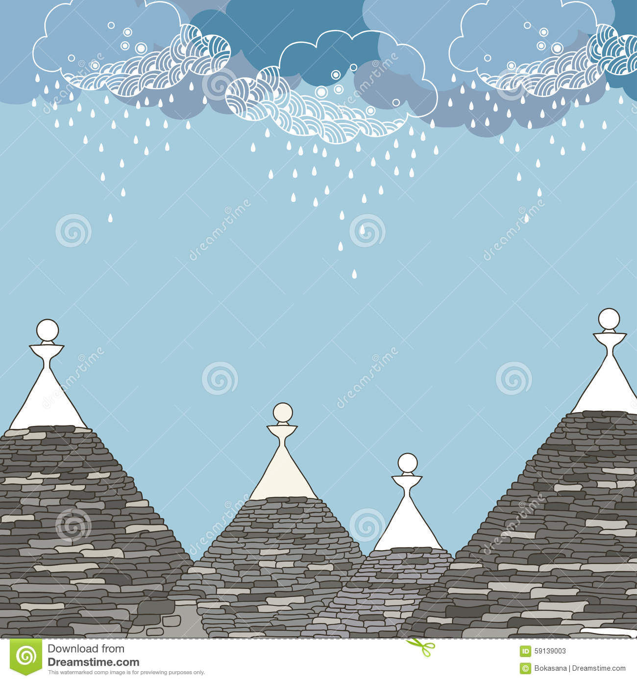 Conical Roofs Of The Trulli Under Rainy Cloud Stock Vector.
