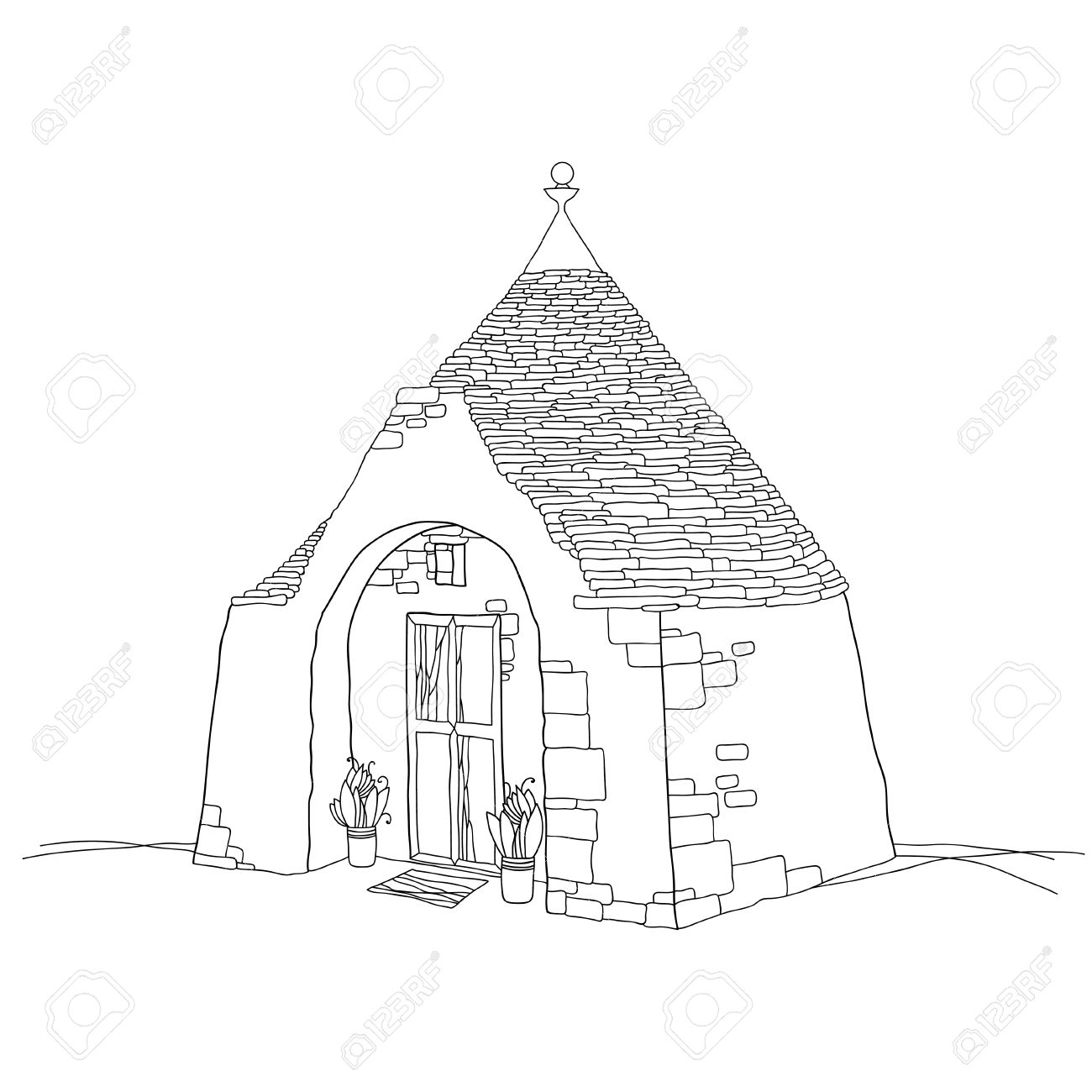 Traditional Trulli House With Conical Roof Isolated On White.