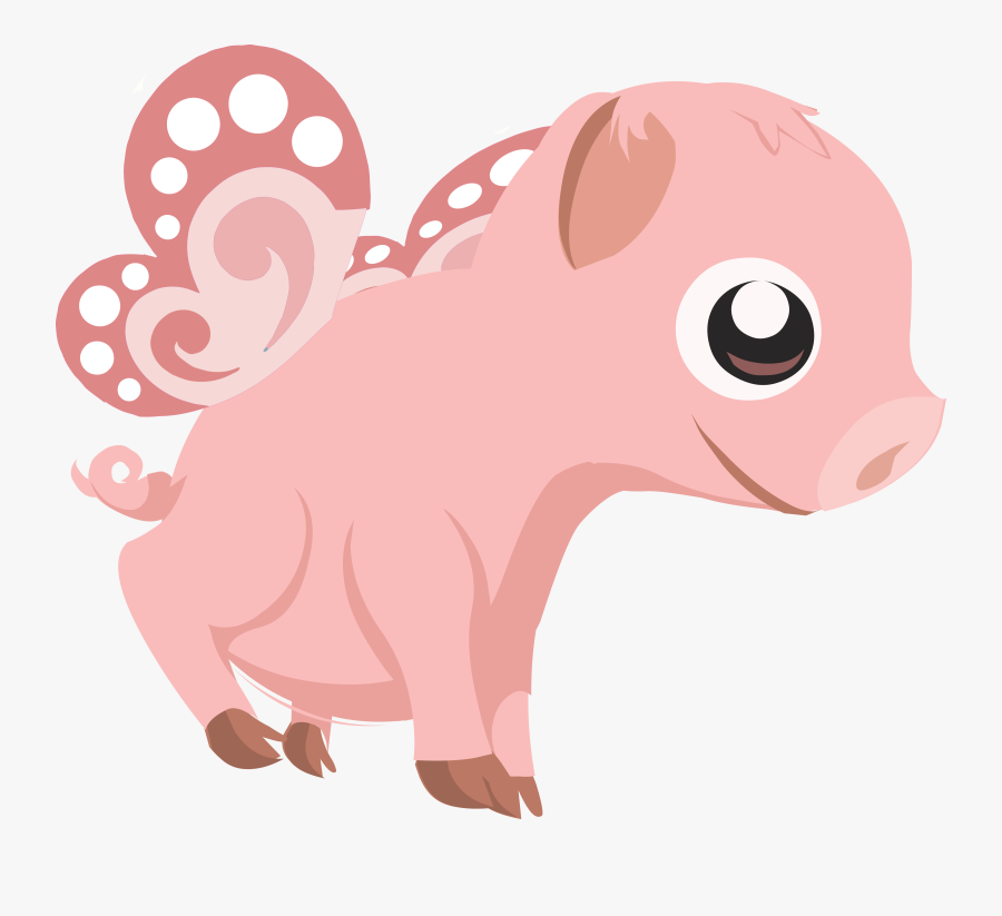Truly Free Clipart Of A Cute Flying Pink Baby Pig Royalty.