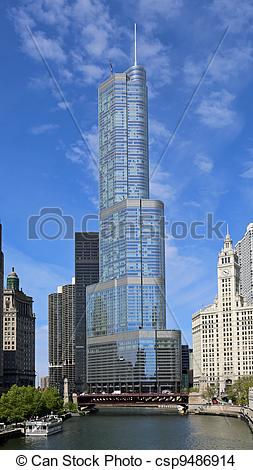 Stock Photo of Trump Tower in Chicago.