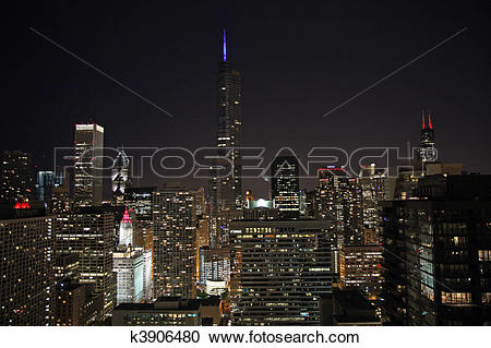 Stock Photography of Trump Tower with lighted spire k3906480.
