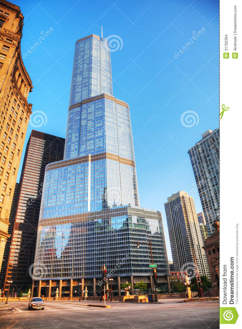 Trump International Hotel And Tower In Chicago, IL In Morning.