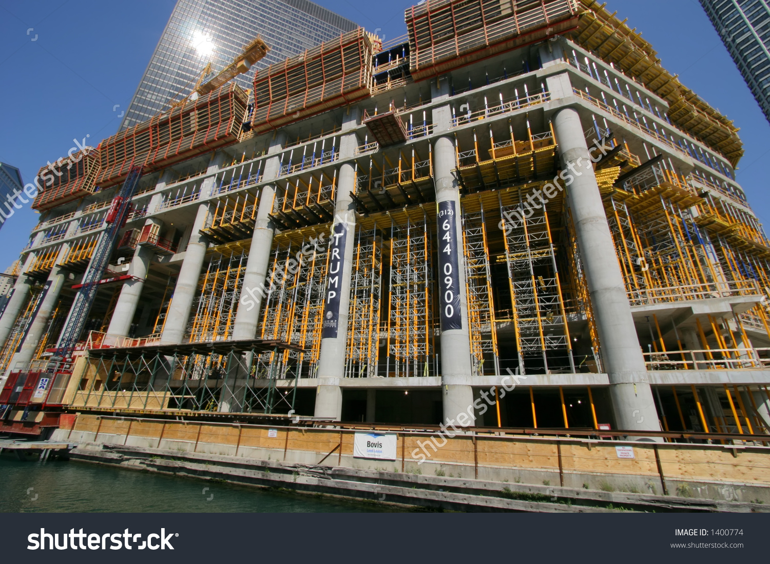 Construction Of Trump International Hotel And Tower In Chicago.