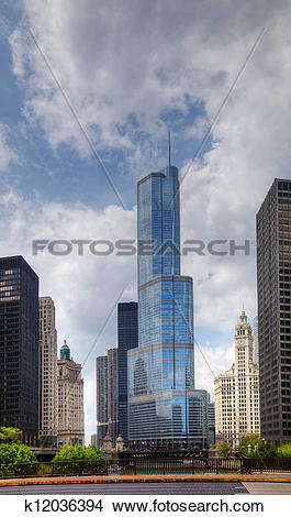 Stock Photo of Trump International Hotel and Tower in Chicago.