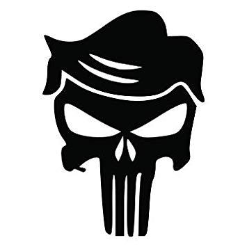 Donald Trump Punisher Skull Funny Vinyl Decal Sticker.