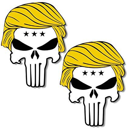 Shmbada 2 PCS America President Donald Trump Punisher Skull Funny Vinyl  Stickers Decal for Car, Board, Bumper, Laptop, Helmet, Big Size 6.0 X 4.8.