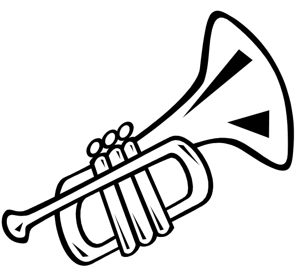 Trumpet Clipart Black And White.